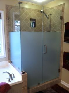 3M Milano window film used on a shower enclosure for added privacy