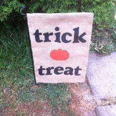 Halloween burlap garden flag- made it myself
