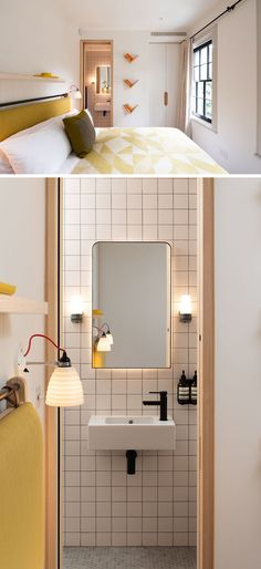 In this modern bedroom, yellow has been chosen as the accent color, while in the ensuite bathroom, square tiles cover the wall, and hidden lighting highlights the shape of the mirror. Modern Bathroom Design, Bathroom Interior Design, Modern Bedroom, Hidden Bath, Ash Flooring, Small Sitting Rooms, Rear Extension, Glass Extension, Ensuite Bathrooms