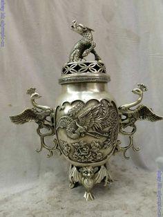 """12"""" China silver carved finely Foo Dogs Lion phoenix bat censer incense burner"""