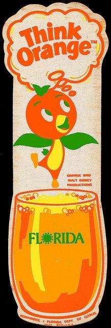 Vintage Florida Orange Bird 1973 Sticker by JasonLiebig Vintage Florida, Old Florida, Central Florida, Vintage Advertisements, Vintage Ads, Vintage Posters, Vintage Food, Vintage Labels, Vintage Travel