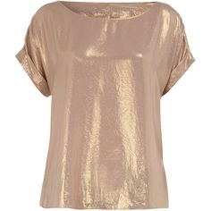 Gold cowl back metallic tee ❤ liked on Polyvore