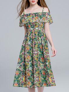 #AdoreWe #StyleWe La Roseraie A-line Spaghetti Cold Shoulder Girly Linen Midi Dress - AdoreWe.com