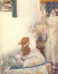 'Morgan Le Fay was put to school in a nunnery, and there she learned so much that she was a great clerk of necromancy.' Illustration by William Russell Flint from Volume 1 'Morte Darthur' by Sir. King Arthur Legend, Legend Of King, Morgana Le Fay, Mists Of Avalon, William Russell, Noble Knight, Roi Arthur, Arthur Rackham, Fairytale Art