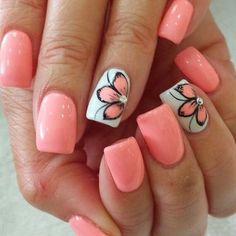 Nail art is one of many ways to boost your style. Try something different for each of your nails will surprise you. You do not have to use acrylic nail designs to have nail art on them. Here are several nail art ideas you need in spring! Cute Summer Nail Designs, Cute Summer Nails, Nail Designs Spring, Toe Nail Designs, Nail Summer, Summer Toenails, Flower Designs For Nails, Fingernail Designs, Acrylic Nail Designs For Summer