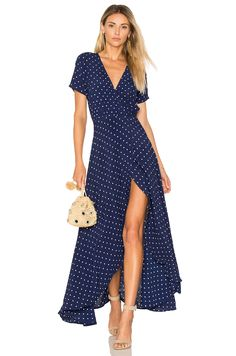 AUGUSTE Lily Wrap Maxi Dress Classic Polka Dot in Navy Blue | REVOLVE