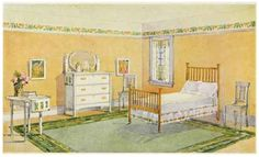 Laurelhurst 1912 Craftsman: Suggested bedroom finish from a 1910 Sherwin Williams painting brochure.