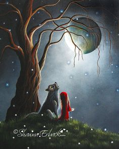 RED RIDING HOOD gothic Fine Art Print Full Moon by shawnaerback, $15.00
