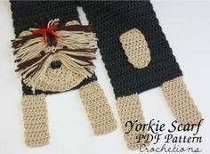 Crochet Yorkshire Terrier Yorkie Scarf Pattern by Crochetions