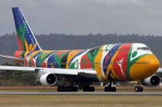 South Africa Airways painted for the summer Olympics. BelAfrique your personal travel planner - www.BelAfrique.com