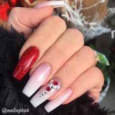 """1,083 Likes, 7 Comments - TheGlitterNail Get inspired! (@theglitternail) on Instagram: """"✨ REPOST - - • - - French Fade, Red Glitter and Crystals on long Coffin Nails - - • - - Picture…"""""""