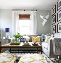 Summer Home Tour 2015. Blue Yellow Living RoomGray ...