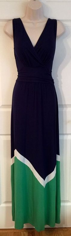 Pixley Maxi Dress Sz Large Abi Colorblock Stitch Fix Navy Blue Rayon Stretch NWT  | eBay