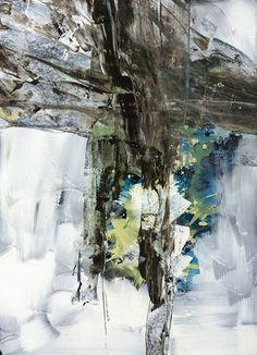 Abstract paining in neutral colors with pops of blue and green.