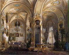 """Interiors of the Winter Palace. The Drawing Room in Rococo II Style with Cupids"" by Edward Petrovich Gau (1807-1887)"