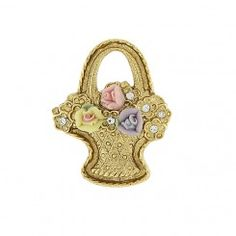 14K Gold-Dipped Pink, Purple, and Ivory Genuine Porcelain Rose Flower Basket Pin