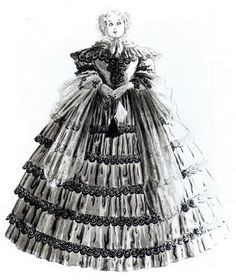Rendering of Aunt Pittypat by designer Walter Plunkett for Gone With the Wind