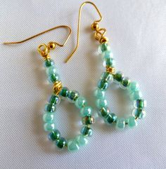 Beaded loop earrings green with french hooks by TheBeckoningCat, $15.00