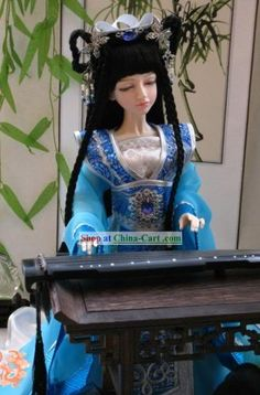 Chinese Gorgeous Light Blue Princess Costumes Complete Set rental set traditional buy purchase on sale shop supplies supply sets equipemnt equipments Chinese Dolls, Princess Costumes, Ball Jointed Dolls, Art Dolls, Captain Hat, Light Blue, Barbie, Cosplay, Asian