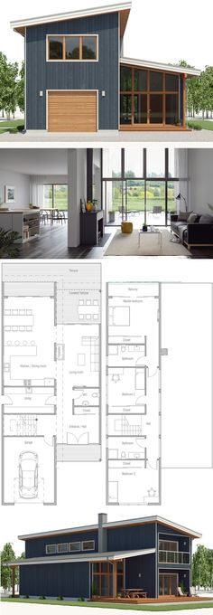 House Plan Modern Architecture Home Plan Floor Plan newhomeplan concepthome houses floorplans Narrow House Plans, New House Plans, Modern House Plans, House Floor Plans, Narrow House Designs, Casas Containers, Exterior House Colors, Garage Exterior, Exterior Design