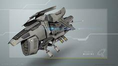 Raummarine - Gravrad  - Pilot liegt innerhalb des Bikes und ist durch die Panzerung geschützt - Bewaffnet mit schwerem Energiekarabiner (Front)