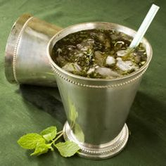 Mint Julep....I use Jack Daniels, but this recipe is a good amount if you have company over.