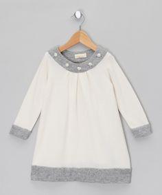 White & Grey Wool Dress - Toddler & Girls by Malvi & Co.