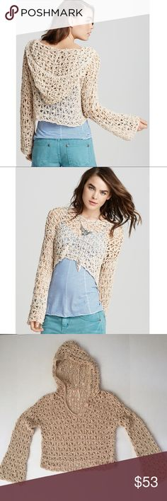 Free People star crochet hoodie Beautiful crochet star pattern. Hoodie crop pullover. Material is a cotton/poly blend. Like new condition. SOLD OUT online & in stores.                                                                        Use the BUNDLE feature for discount.                                   SHOP with confidence  5 STAR ratings Most items SHIP NEXT DAY.. Free People Tops