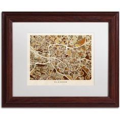Trademark Fine Art Glasgow Street Map Brown Canvas Art by Michael Tompsett, White Matte, Wood Frame, Size: 16 x 20, Brown