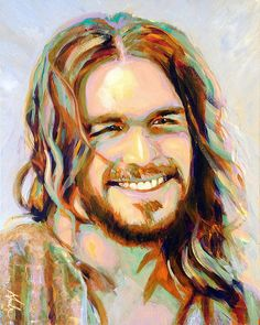 Smiling Jesus Art Print featuring the painting Yeshua by Steve Gamba