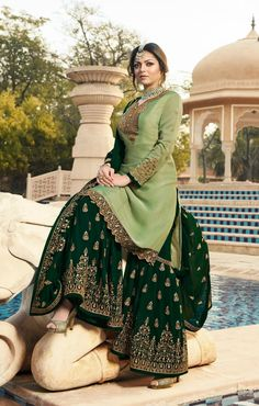 Buy Pale Green Georgette Embroidered Sharara Suit - Salwar Kameez for Women from Andaaz Fashion at Best Prices. Style ID: Pakistani Fashion Party Wear, Pakistani Dresses Casual, Indian Party Wear, Pakistani Dress Design, Pakistani Gharara, Dress Indian Style, Indian Fashion Dresses, Indian Designer Outfits, Indian Outfits