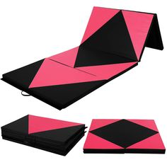 """4'x10'x2"""" Gymnastics Mat Folding Panel Thick Gym Fitness Exercise Pink/Black New #Unbranded"""