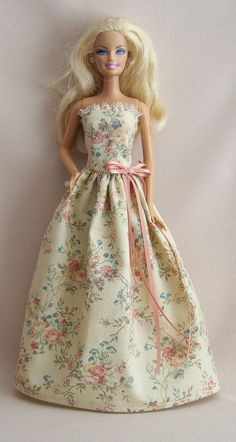 Handmade Barbie Clothes-Beige Floral Gown via Etsy