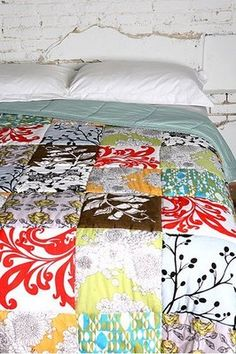 "OMG. Why did I not think of making my own patchwork duvet? I have been hating on the multi-panel duvets since most fabric is only 45"". This is PERFECT! :)"