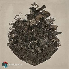 """Amazing work from @richeybeckett Tag a friend who would like this. 'Another exclusive release for @mondocon is the official ARMY OF DARKNESS Original Soundtrack LP (featuring full artwork by yours truly). Music by Joseph LoDuca and Danny Elfman double 12"""" vinyl with gatefold sleeve. I'm excited to reveal the rest of the artwork and a couple of surprises!  These will be available at the Mondo booth this weekend! ' #richeybeckett #mondocon2015 #mondocon #armyofdarkness #brucecampbell…"""
