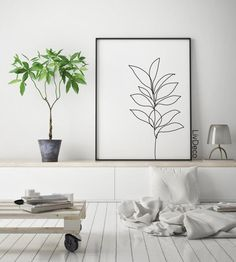 Abstract botanic wall decor minimalist printable art one line drawing Black and white room decor large poster plant print leaf prints White Room Decor, Black Decor, White Bedroom, Leaf Prints, Wall Prints, Black And White Wall Art, Bedroom Art, Minimalist Art, Minimalist Bedroom