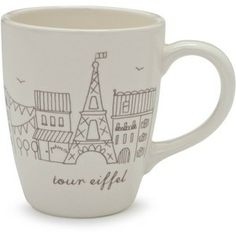 Wake up every morning with a feeling of Parisian chic. These cityscape-themed mugs warm your soul on a chilly morning.