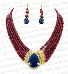 ruby gemstone beaded necklace with gold plated sapphire stone clasp