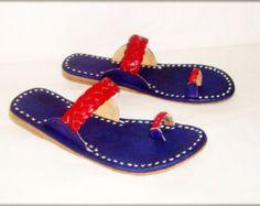 Pisos vintage de cuero hechos a mano zapatillas de por BONJOURstore
