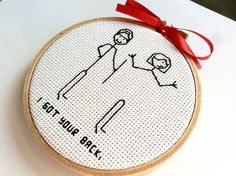 Friendship / Funny Valentines Gift Embroidery by hoopsandhooks, $15.50