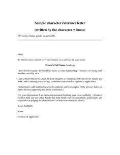 Personal Reference Letter Template 40 Awesome Character Templates By