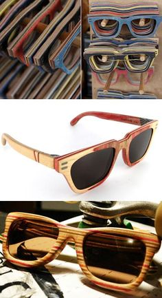 recycled skate board turns into sunglasses | http://www.vuerichb.com
