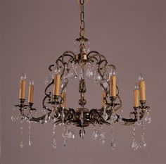 Classic Candelabra Style Chandelier Noble Crown Ceiling Lighting in Antique Gold Antique Brass Chandelier, Vintage Chandelier, Glass Chandelier, Crystal Chandeliers, Chandelier Lighting, Reproduction, Dining Room Lighting, Fine Porcelain, French Antiques