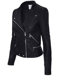 - 40% Viscose 60% PU - Machine wash warm, do not bleach, do not iron, tumble dry with medium heat. - A cropped silhouette puts a feminine finish on a moto-inspired jacket crafted from supple faux leat