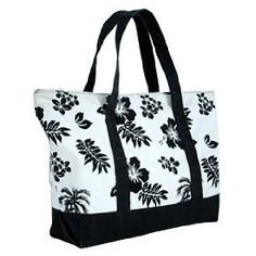 Hibiscus & Palm Tree Canvas Tote Bag / Black /Large