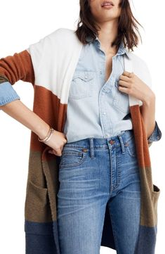 a9f168fdb89 Madewell Kent Colorblock Long Cardigan (Regular   Plus Size)