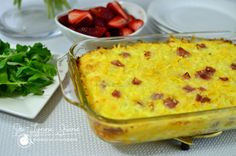 Easiest breakfast casserole EVER! Serves 8-10 ppl in a 9x13 dish! Lightly toss together 16 oz. bag frozen hash browns w/ 8 oz. shredded cheddar & about 2 pkgs. cubed ham (we like lots of ham so we do about 14oz.) Spread this all in a lighly greased dish. Whisk 5 eggs and about 1.5 c. milk together & pour over the pan. Salt & pepper to your liking. Bake in a 350 oven for 60-70 mins. Can add shredded cheese on top, which we like! Can cover with foil to avoid over-browning!