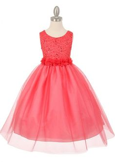 Coral Sequin Lace Sleeveless Girl Dress with Flower