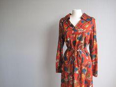 Dress midi 70s 80s floral leaves autumn pattern by woolpleasure