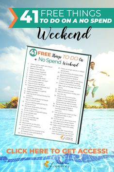 41 Free things to do on the weekend without spending any money. Here are great ideas for a no spend weekend! Cheap Things To Do, Free Things To Do, Fun Things, Weekender, Paying Off Student Loans, Money Plan, Paying Off Credit Cards, Budget Planer, Budgeting Worksheets
